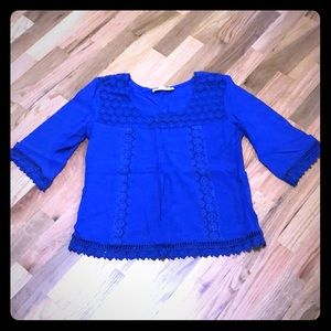 Beautiful Blue Blouse with Crochet Detailing